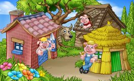 The Three Little Pigs Fairytale Scene. A cartoon illustration from the three little pigs childrens fairytale story, of the 3 pig characters with their straw Royalty Free Stock Photo