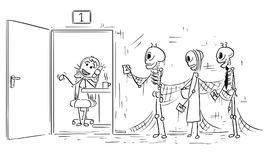Cartoon Illustration of Three Skeletons of People Dying Waiting stock illustration