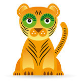 Cartoon illustration of a tiger on a white background. Royalty Free Stock Photography