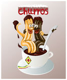 Cartoon  illustration of the traditional Spanish pastry called churros Stock Photos