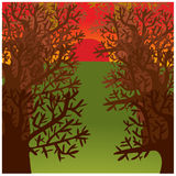 Cartoon illustration of trees alley Stock Images