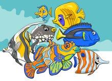 Tropical fish sea life animal characters group. Cartoon Illustration of Tropical Fish Sea Life Animal Characters Group Royalty Free Stock Image