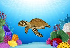Cartoon illustration of Turtle with beautiful underwater world Stock Images
