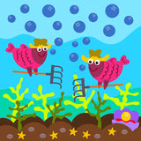 Fish farm. A cartoon illustration of two fish wearing a farmer's hat and about to harvest corals under the sea Royalty Free Stock Photo