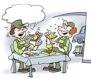 Cartoon illustration of two mechanics there eat lunch Stock Photo