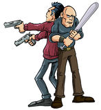 The Buddy System. Cartoon illustration of two men operating the Buddy System standing back to back wielding their weapons in order to protect each others backs royalty free illustration