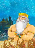 Cartoon illustration of underwater kingdom with older king in the front - mermaid king Stock Photography
