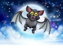 Cartoon Bat and Full Moon Halloween Scene Royalty Free Stock Photos