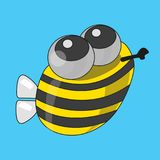 Funny bee, vector. Cartoon illustration of a vector, funny bee that flies for honey royalty free illustration