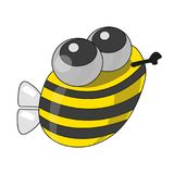 Funny bee, vector. Cartoon illustration of a vector, funny bee that flies for honey stock illustration