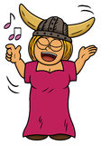 Cartoon illustration of a viking woman singing song Stock Photo