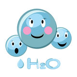 Cartoon illustration of water molecule. Cute cartoon illustration of water molecule and water formula H2O. Vector illustration in flat style Royalty Free Stock Image