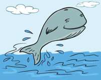 Cartoon illustration of a whale jump out from water. Vector character Stock Photography