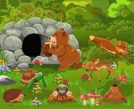 Cartoon illustration of wild animals like bear, deer, fox, turtle stock illustration