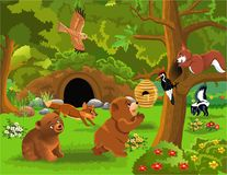 Cartoon illustration of wild animals living in the forest royalty free illustration