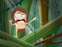 Cartoon illustration of a wild man in the jungle. Funny cartoon illustration of a wild man in the jungle stock illustration
