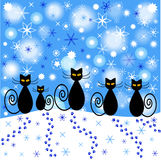 Cartoon illustration of winter cats Stock Photography