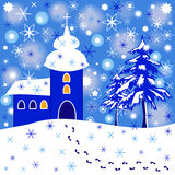 Cartoon illustration of winter scene with church and trees. Colorful cartoon illustration of christmas scene with trees, church and falling snow Royalty Free Stock Images