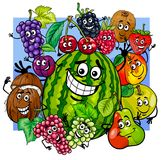 Witty fruit characters group cartoon Royalty Free Stock Photo
