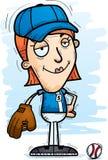 Confident Cartoon Baseball Player. A cartoon illustration of a woman baseball player looking confident stock illustration