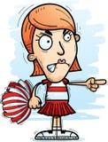 Angry Cartoon Woman Cheerleader. A cartoon illustration of a woman cheerleader looking angry and pointing vector illustration