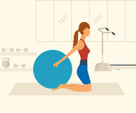 Cartoon illustration of a woman exercising with Stock Image