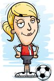 Confident Cartoon Soccer Player. A cartoon illustration of a woman soccer player looking confident stock illustration