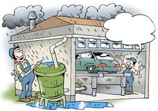 Cartoon illustration of a workshop that recyling water Stock Images