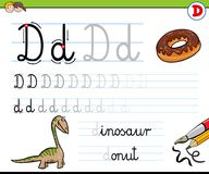How to write letter D worksheet for kids Royalty Free Stock Photo