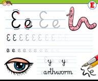 How to write letter E workbook for children Royalty Free Illustration