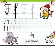 How to write letter F worksheet for kids Stock Photography