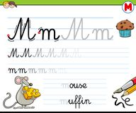 How to write letter M worksheet for kids Stock Images