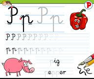 How to write letter P worksheet for kids Royalty Free Stock Photography