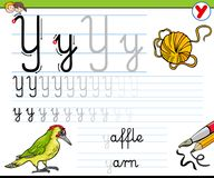 How to write letter Y worksheet for kids Royalty Free Stock Image