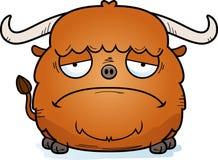 Sad Cartoon Yak. A cartoon illustration of a yak looking sad Stock Photo
