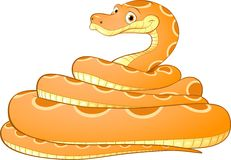 Cartoon illustration of a yellow snake Royalty Free Stock Photos