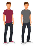 Cartoon illustration of a young man in casual clothes Royalty Free Stock Photo