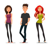 Cartoon illustration of young people Royalty Free Stock Photography