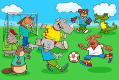 Cartoon animal soccer players on football field Royalty Free Illustration