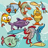 Funny fish cartoon characters group. Cartoon Illustrations of Comic Fish Sea Life Animal Characters Group Royalty Free Stock Photos