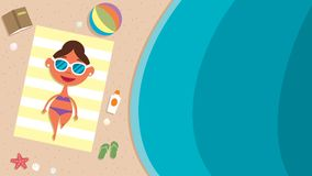 Summer Beach Girl. Cartoon illustrations depicting girl at the beach on summer vacation Stock Images