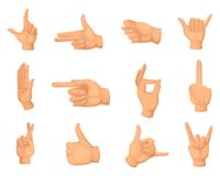 Cartoon illustrations of hands gestures isolated on white. Thumb up and palm, fist and ok symbol vector Royalty Free Stock Photography