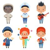 Cartoon illustrations of kids at different professions royalty free illustration