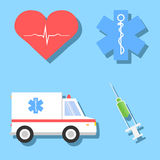 Cartoon illustrations of medical related objects Royalty Free Stock Photo