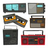 Cartoon illustrations of old music cassette recorders, players and radios. Audio retro recorder and stereo speaker, boombox equipment street vector vector illustration