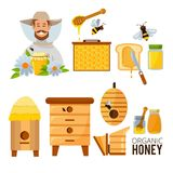 Cartoon illustrations set of beekeeper, beehive and bees. Beehive and natural honey vector royalty free illustration