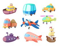 Cartoon illustrations of various transportation. Airplanes, ship, cars and others. Vector pictures of toys for kids royalty free illustration