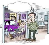 Cartoon illustratpion of a student who received a small car in the student gift Royalty Free Stock Photos