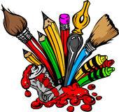 Cartoon Image of Art Supplies. Art and Back to School Supplies- Paint Brushes, Pencils, Oil Paint, Pens, and Crayons Cartoon Vector Image Royalty Free Stock Photos