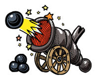 Cartoon image of big cannon firing. An artistic freehand picture Royalty Free Stock Image